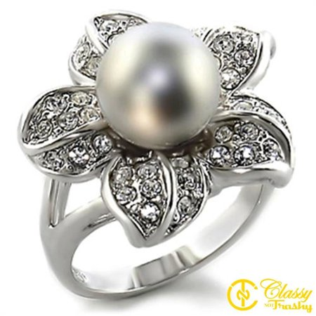 Mother Pearl Flower Ring - Classy Not Trashy® Size 6 Gray Flower Pearl Synthetic Stone Brass Rhodium Ring