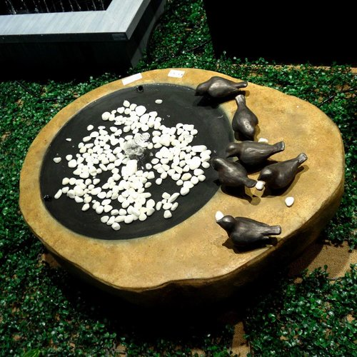 Hi-Line Gift Ltd. Fiber and Resin Bird Bath Fountain