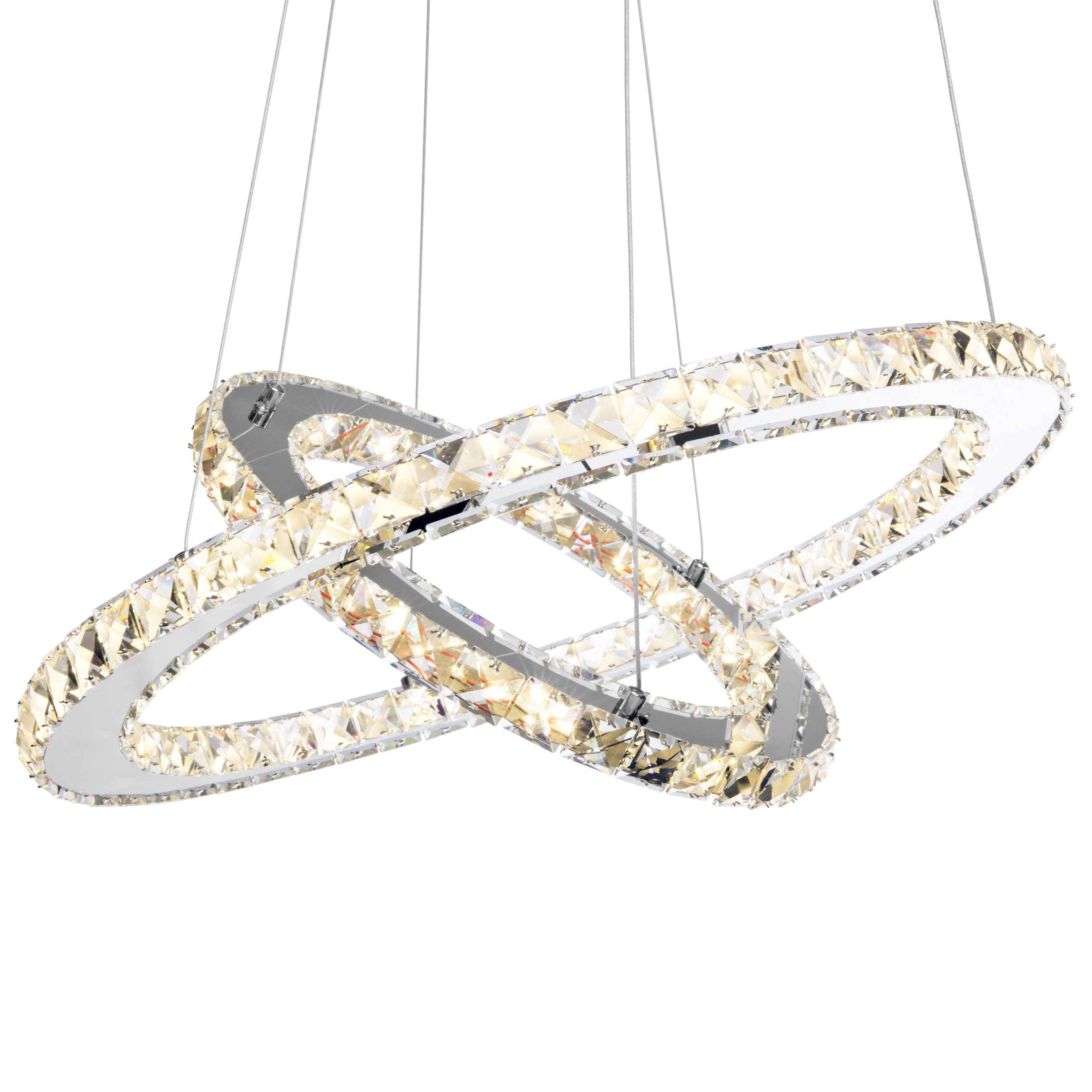 Best Choice Products 2-Ring Modern Glam Crystal LED Ceiling Light Pendant Chandelier - Silver
