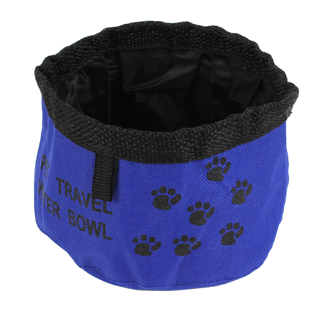 Unique Bargains Blue Black Cat Dog Paw Pattern Foldable Portable Feeder Bowl Water Dish
