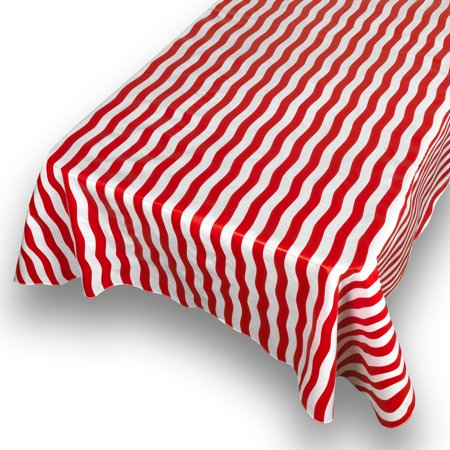 - Carnation Bold Stripe Red Premum Quality Vinyl Flannel Back Square Tablecloth 52