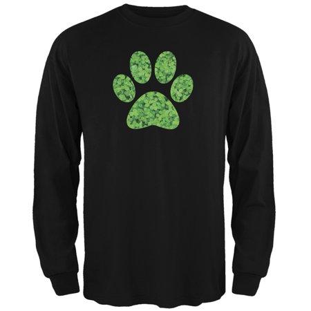 St. Patricks Day - Dog Paw Black Adult Long Sleeve T-Shirt