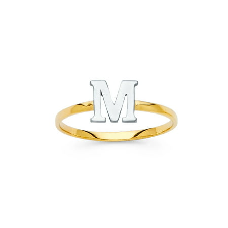 "Jewels By Lux14K White and Yellow Gold Two Tone Initial Letter Stackable Ring ""C"" Size 9"