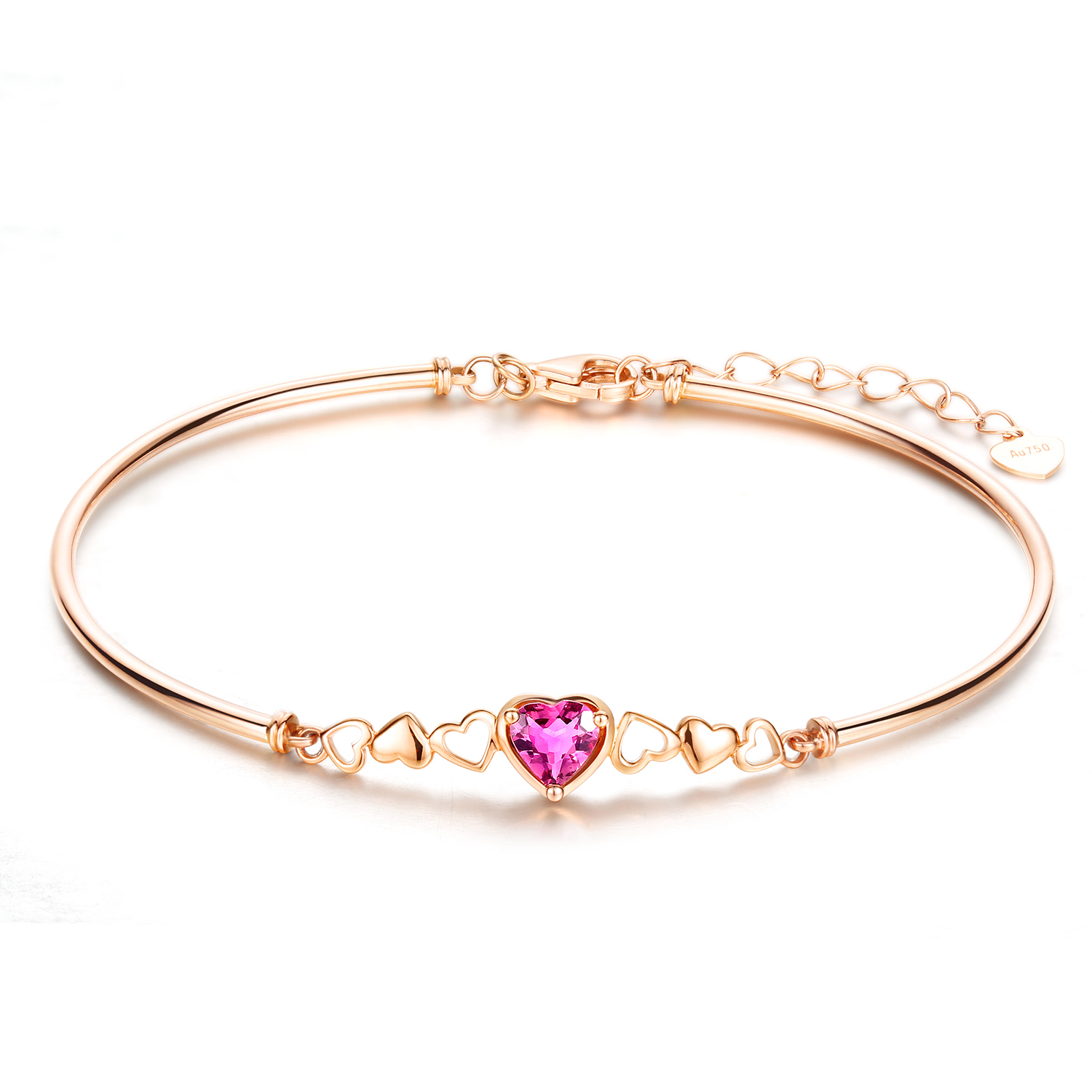 Carleen Tourmaline Pendant Bangle 18K Rose Gold Bracelet for Women by Carleen