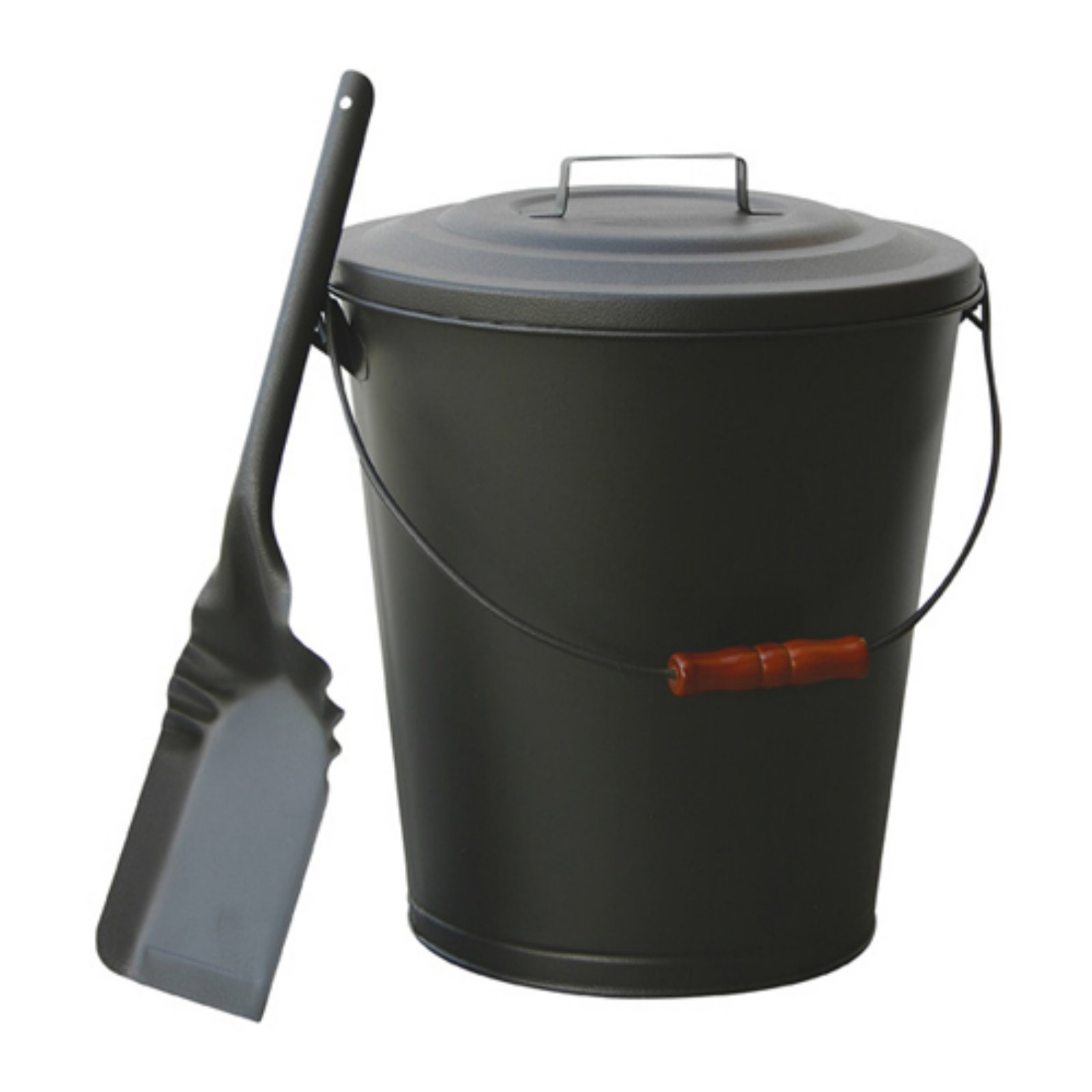 Uniflame Olde World Iron Finish Ash Bin with Lid and Shovel