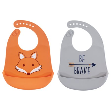 Hudson Baby Boy and Girl Waterproof, Easy Wipe, Comfortable Silicone Bib with Pocket, 2-Pack, Fox