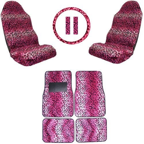 Unique Imports Front & Rear Mats,High Back Seat Covers Interior set Auto , Leopard
