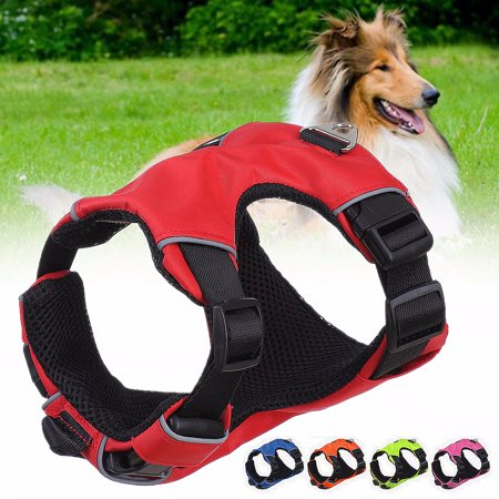 Mesh Nylon Padded Reflective Pet Dog Puppy Cat Harness Safety Harness Vest Collar Chest Strap,Pink L - Padded Nylon Harness