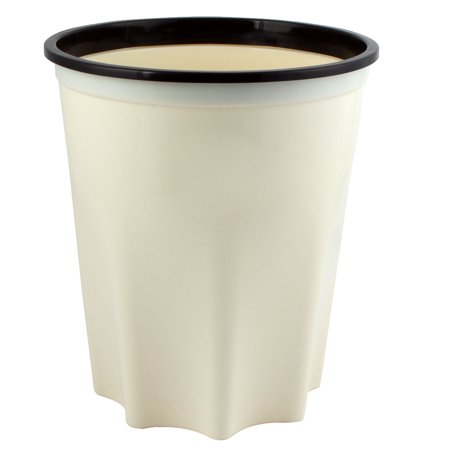 Bathroom Kitchen Plastic Octagonal Base Garbage Trash Can Container Beige