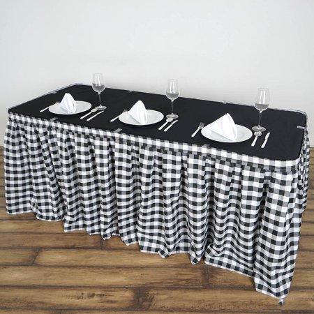 14FT White/Black Checkered Gingham Polyester Table Skirt Outdoor Picnic