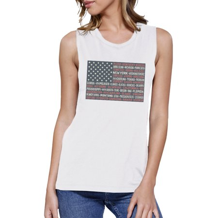 Womens Cap Sleeve Tee (50 States Us Flag Womens White Muscle Top Cap Sleeve For 4 Of)