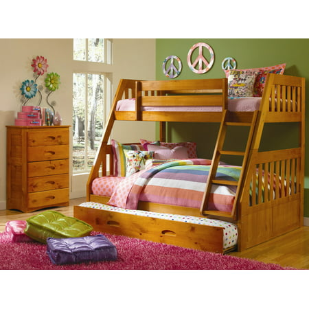 American Furniture Classics Model 2118-TFHT, Solid Pine Mission Staircase Twin/Full Bunk Bed with Roll Out Twin Trundle Bed in Honey.