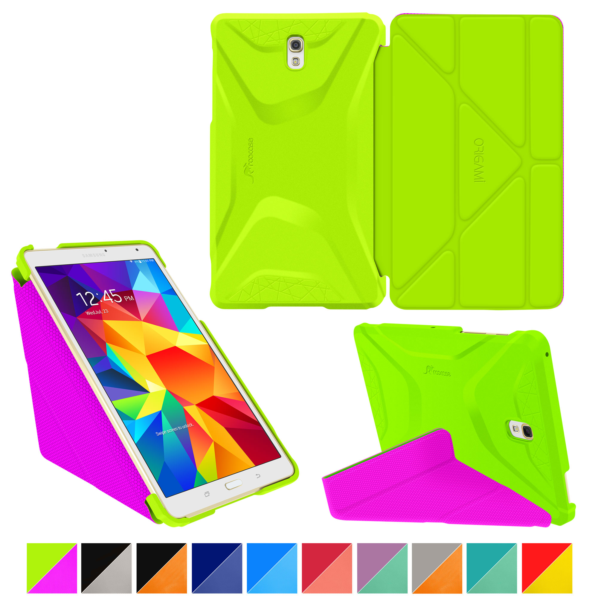 Galaxy Tab S 8.4 Case, Samsung Galaxy Tab S 8.4 case, rooCASE Origami (3 Way Stand) Slim Shell Lightweight Tablet Folio Smart Cover Green/Purple