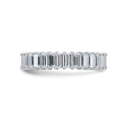 3.40 Carat (ctw) (3.70 Ct. Look) Synthetic Moissanite Eternity Wedding Band Ring in 14K White Gold - image 5 of 6