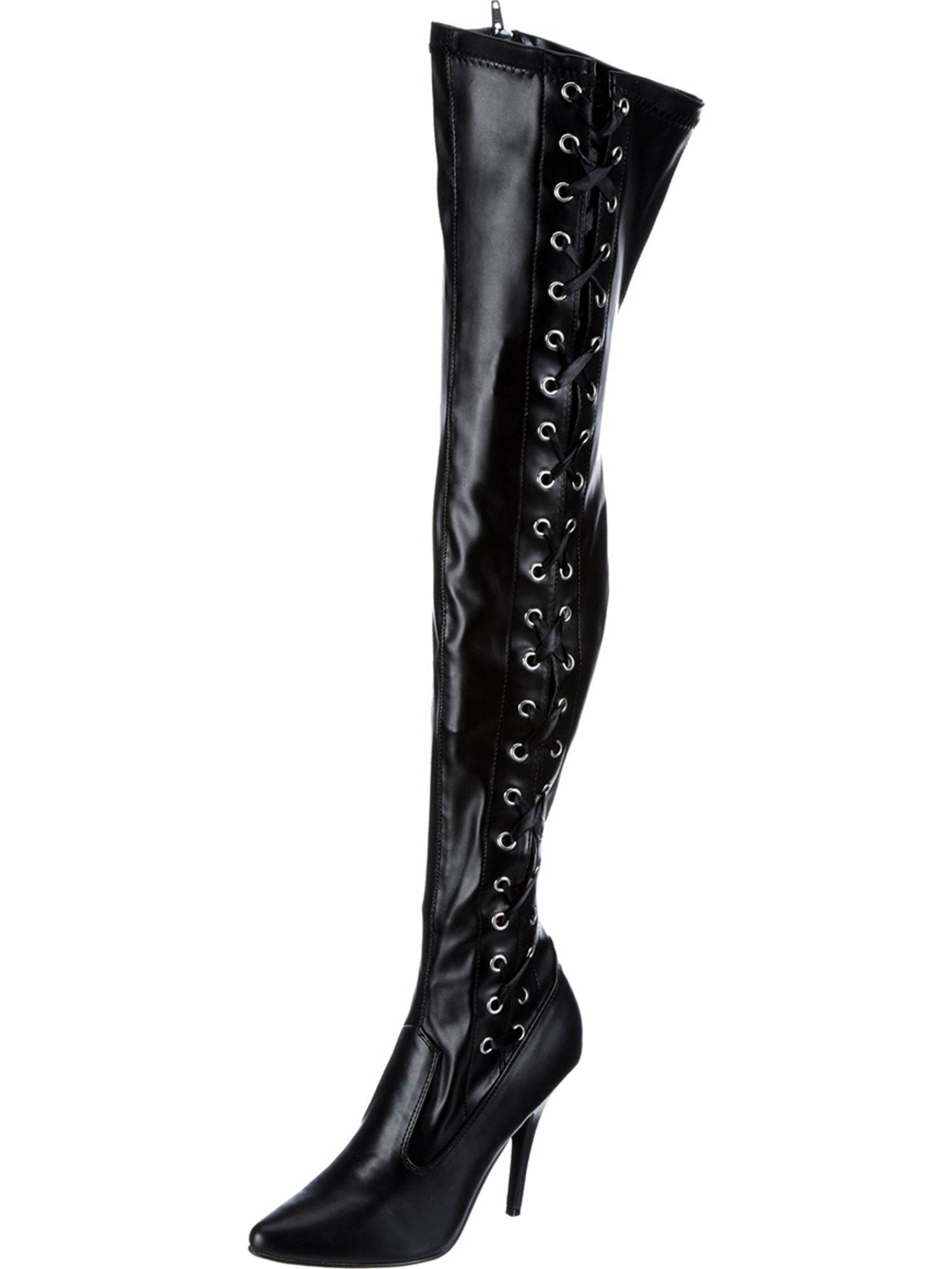 Womens 5 Inch Heel Boots Side Lace Up Thigh High Boots Pointed Toe Stretch