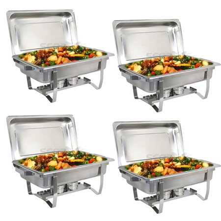 Zeny Upgraded 8 Qt Stainless Steel Chafer Dishes, Full Size Chafer Chafing Dish w/Water Pan, Food Pan, Alcohol Furnace and Lid (Pack of 4) (Pan Warmers)