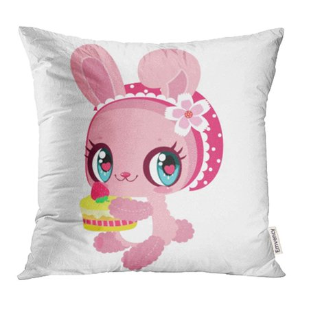 CMFUN Little Cute Pink Bunny Strawberry Cake in Hand Children's Character Easter Pillowcase Cushion Cases 18x18 inch](Cute Easter Cakes)