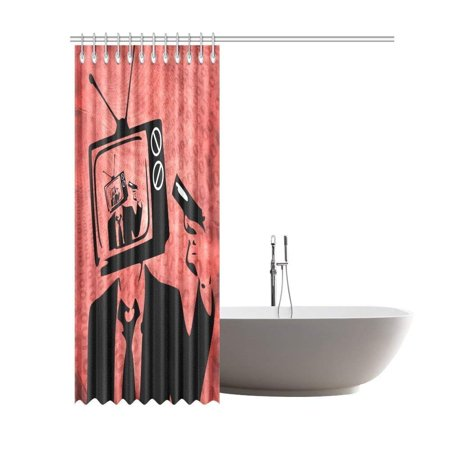 RYLABLUE Surreal Art Television Man Bathroom Waterproof Fabric Shower Curtain 66x72 inches - image 2 of 2