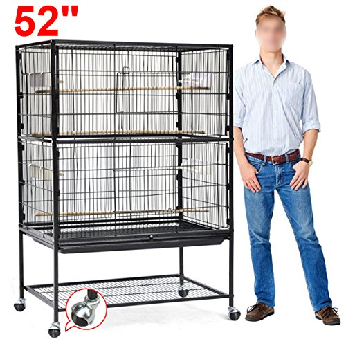 Yaheetech 52'' Wrought Iron Select Bird Cage Parrot Macaw Cockatoo Birdcage Stands