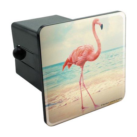 Flamingo on Beach Starfish Retro Tow Trailer Hitch Cover Plug Insert 2