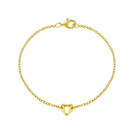 Yellow Gold Flashed 925 Sterling Silver Thin Heart Key Bracelet for Girls 6