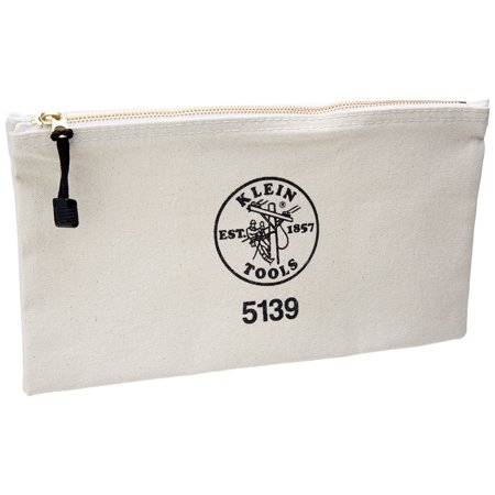 Klein Tools 5139 Canvas Zipper Bag, White Klein Tools Canvas Zipper Bag