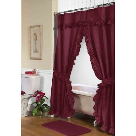 Lauren Double Swag Shower Curtain Burgundy