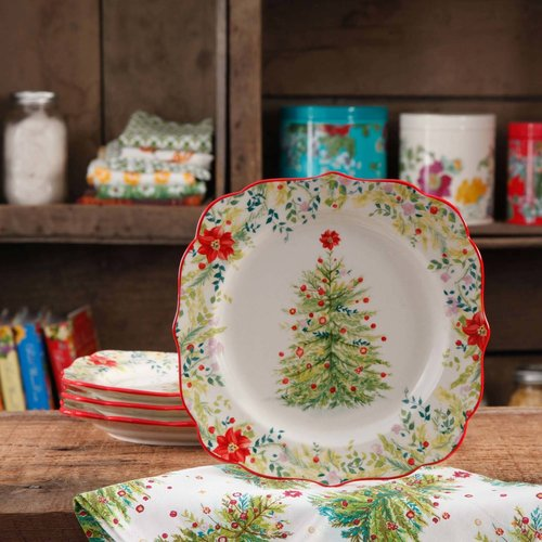 "The Pioneer Woman Holiday Cheer 8.5"" Salad Plate, Set of 4"
