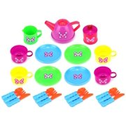 Butterfly Picnic Pretend Play Children's Kid's Toy Tea Set w/ Cups, Tea Pot, Plates, Utensils