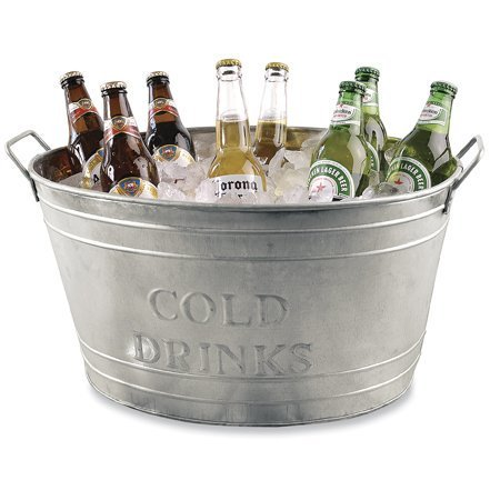 Farmhouse Small Oval Galvanized Steel Beverage Tubs with Handles (Cold Drinks) ()