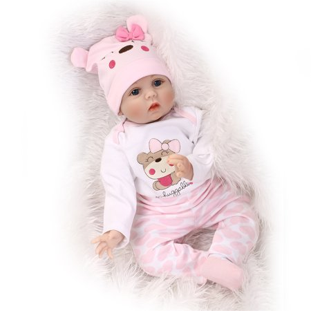 NPK Collection Reborn Baby Doll Soft Silicone vinyl 22inch 55cm Lovely Lifelike Cute Baby Birthday gift Christmas gift (Cute Doll Halloween Makeup)