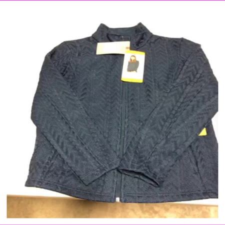 Boston Traders Women's Full Zip Stand Up Mock Neck Cable Knit Sweater Jacket S/Blue Cable Knit Zip