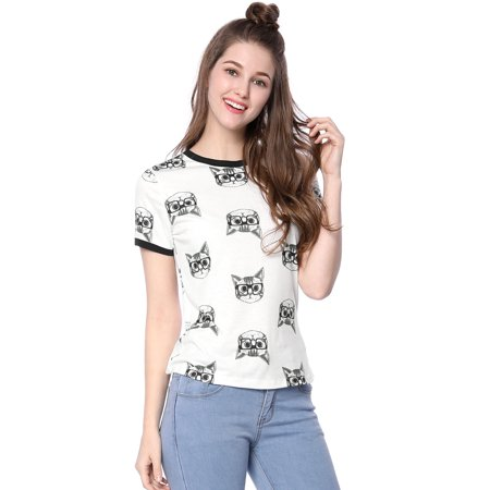 Women Short Sleeve Contrast Trim Cartoon Cat Print Tee Shirt White M