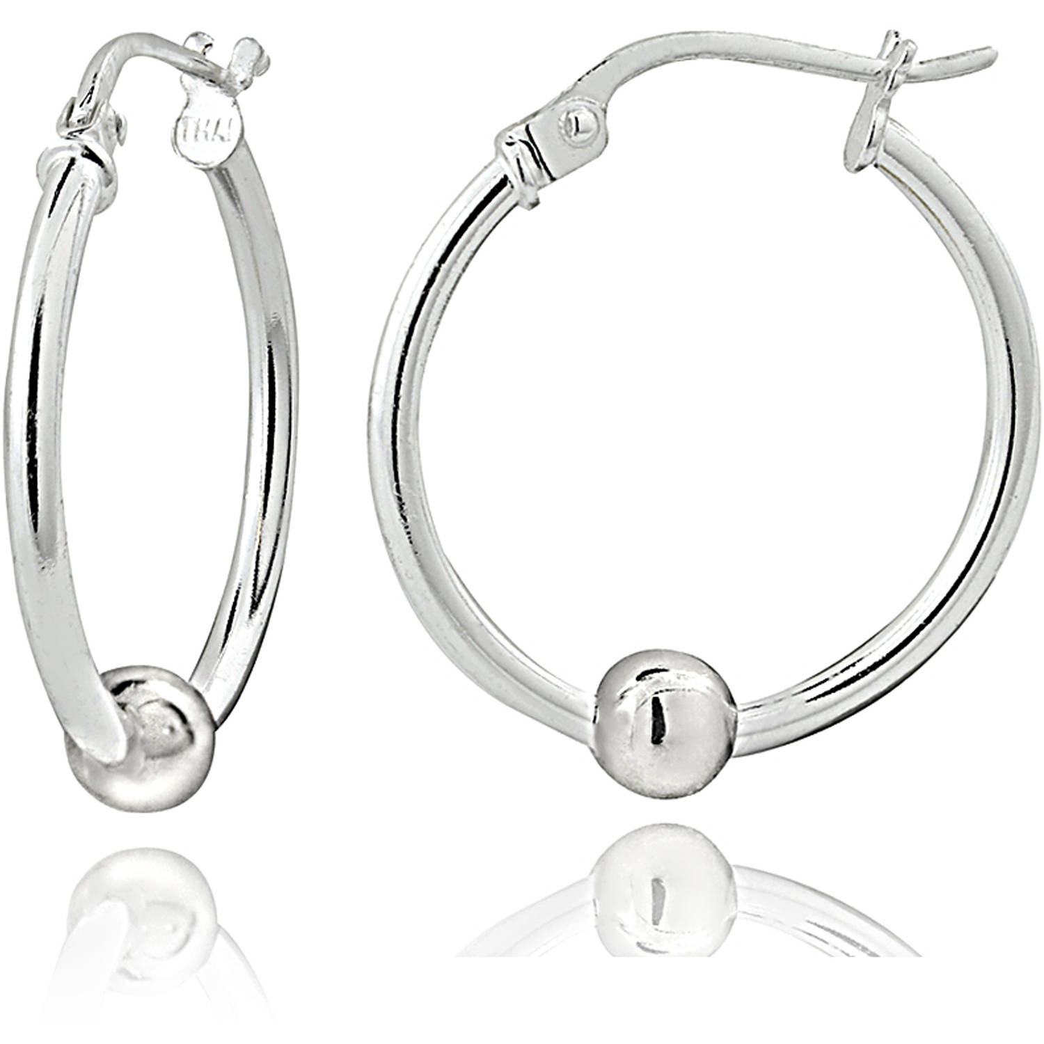 Sterling Silver Bead Round Hoop Earrings, 18mm