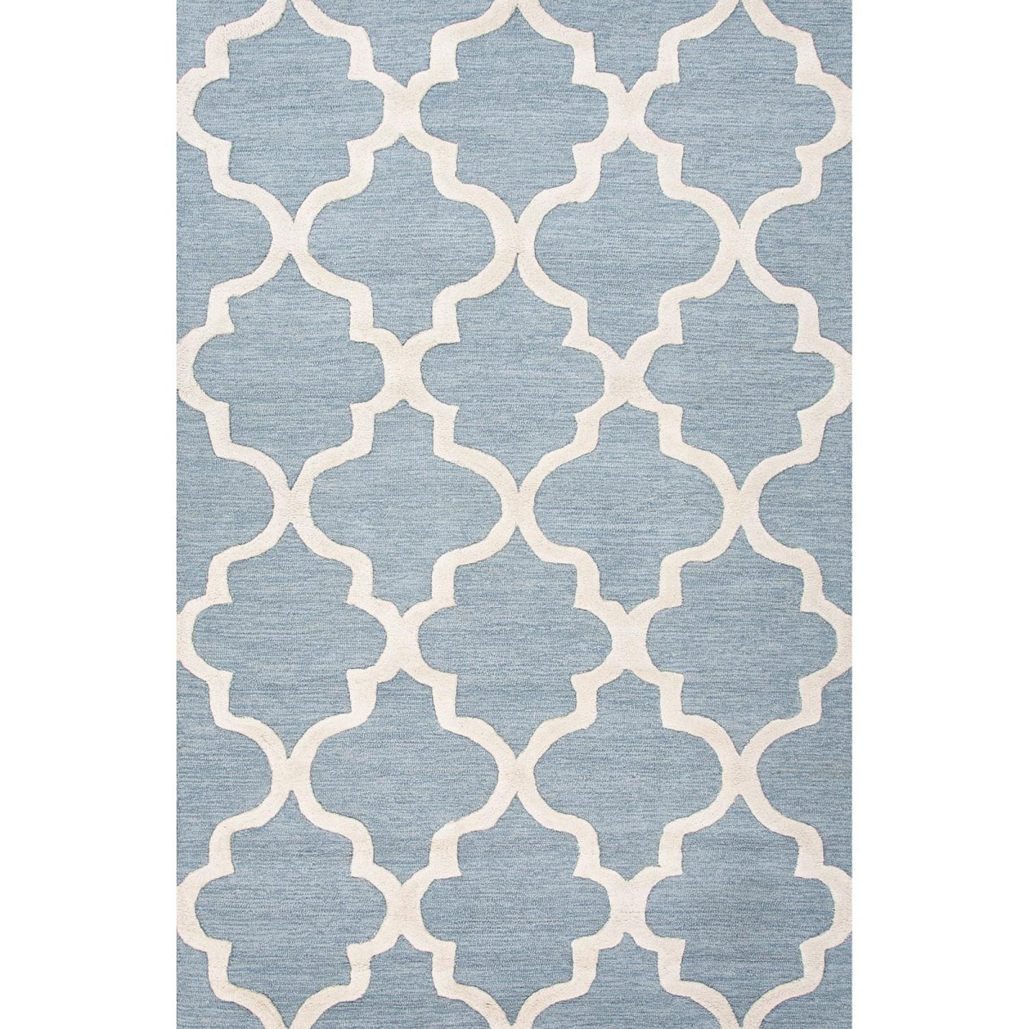 8' x 11' Blue Gray and Snow White Modern Miami Hand Tufted Wool Area Throw Rug