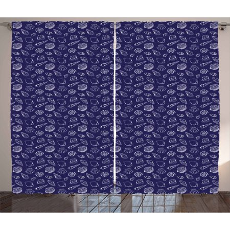 Navy Blue Curtains 2 Panels Set, Underwater Ocean Wildlife Inspired Design with Hand Drawn Style Sea ...