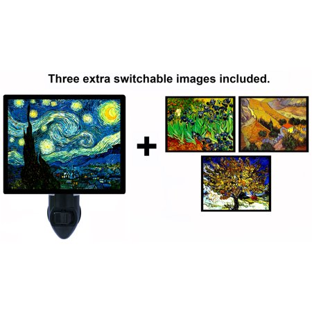 Night Iris - Night Light - Switchable Photos Included - Van Gogh - Starry Night - Irises - Mulberry Tree - Landscape