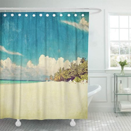 PKNMT Blue Retro Vintage Beach Maldives 50S Lomography Old Sand Dirty Sea Shabby Bathroom Shower Curtain 66x72 Inch