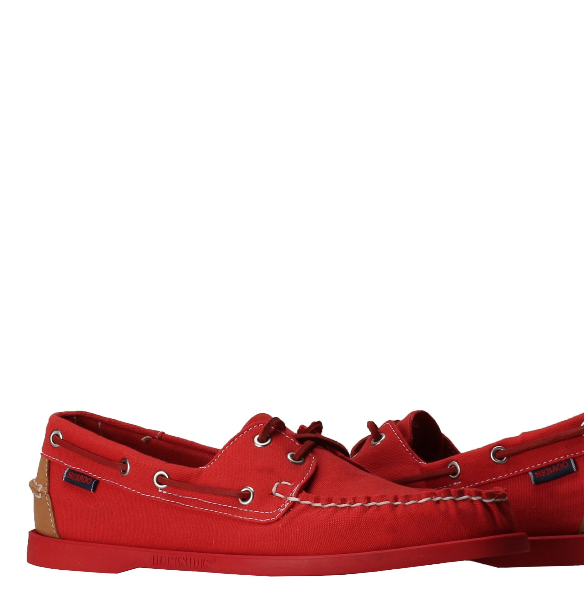 Sebago Docksides Red Canvas Tan Leather Men's Boat Shoes B720148 by Sebago