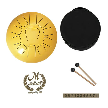 12 Inch Steel Tongue Drum 11-Tone Hand Pan Drum Stainless Steel Percussion Instrument with Drum Mallets Carry Bags Note Sticks Recycled Steel Drum