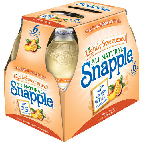 Snapple Lightly Sweetened Peach Passionfruit Tea, 16 fl oz, 6-pack