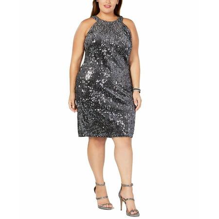 Women's Dress Gray Plus Halter Sequined Sheath $109 14W Halter Sheath Dress
