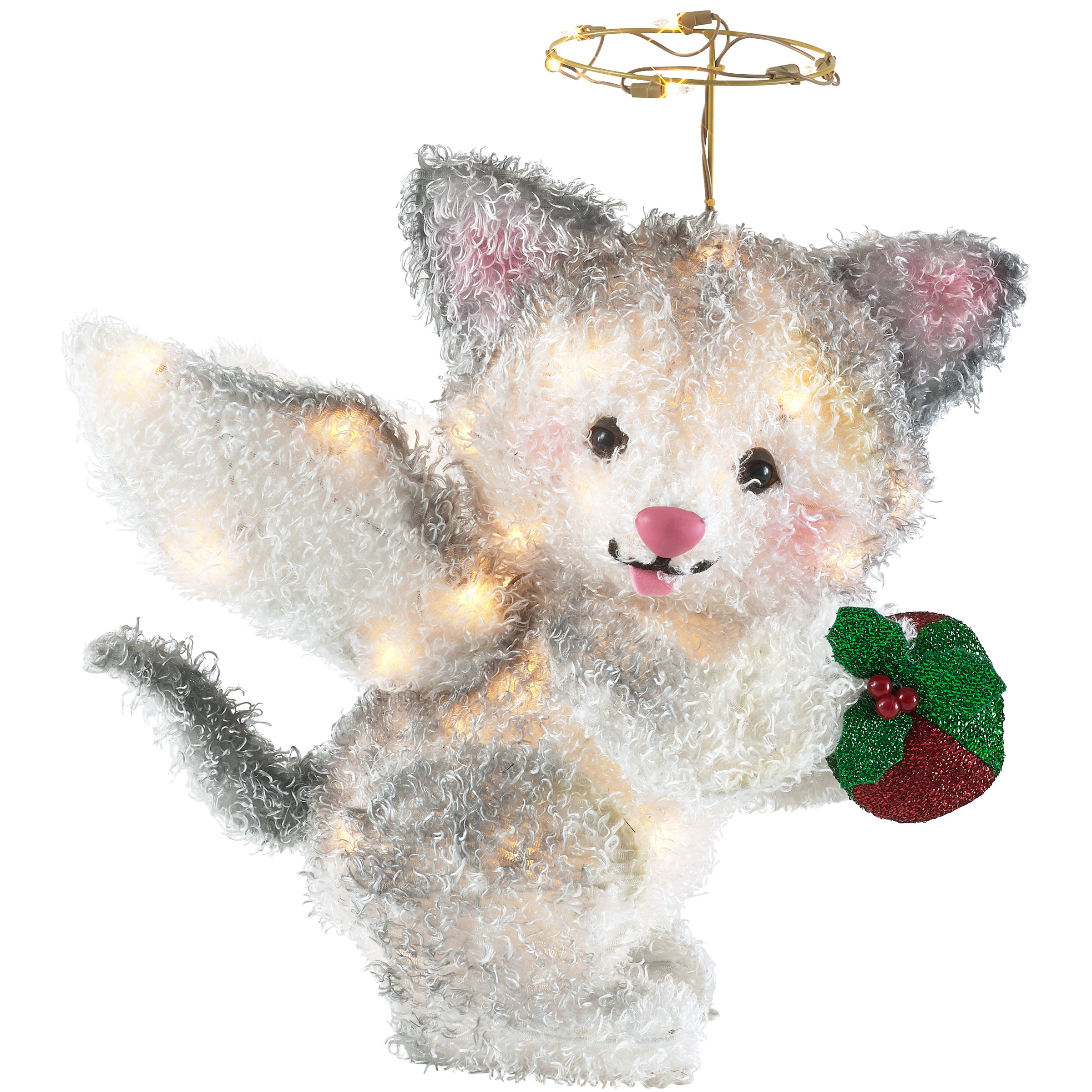 Holiday Time 25-Inch Light-Up Fluffy Angel Cat, White with 35 Lights