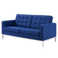 Contemporary Modern Urban Designer Living Room Lounge Club Lobby Loveseat Sofa, Faux Vinyl Leather, Navy Blue Silver