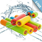 Toy To Enjoy Water Blaster Guns (Pack of 6)  Foam Noodle Squirt Water Shooter for Kids & Adults  Summer Party Toys & Outdoor Pool Toys for Beach & Water Fights