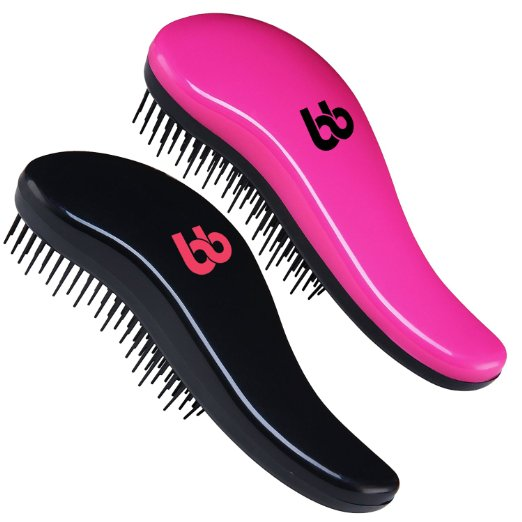 Detangling Hair Brush Set of 2, Best Detangler Comb for Women, Men & Children, Black & Pink, By Beauty Bon