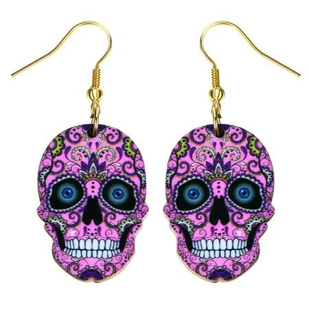 Pink Sugar Skull Earrings Bright Colorful Pink Skull Head Colorful Design Earrings SSE-13