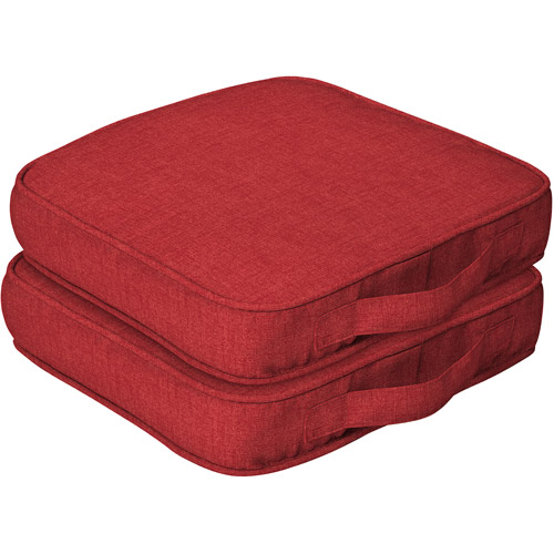 Mainstays Outdoor Dining Seat Cushion with Handle, Set of 2
