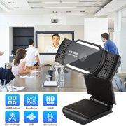 PC Webcam, 1080P Full HD Webcam 5.0MP USB Desktop & Laptop Webcam Live Streaming Webcam with Noise-Cancelling Microphone, HD Video Webcam for Video Calling (HD Webcam) - Black