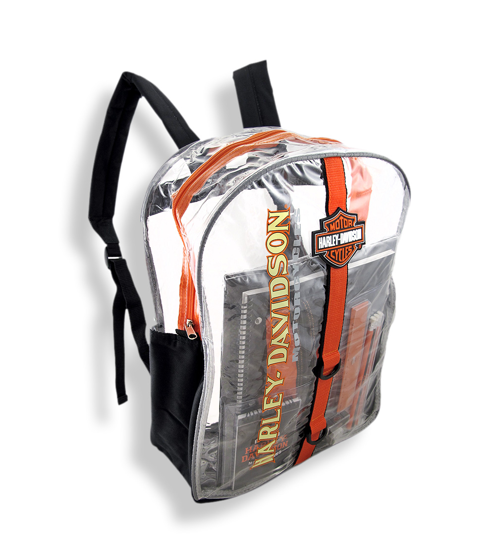 harley davidson clear plastic backpack w/ school supplies
